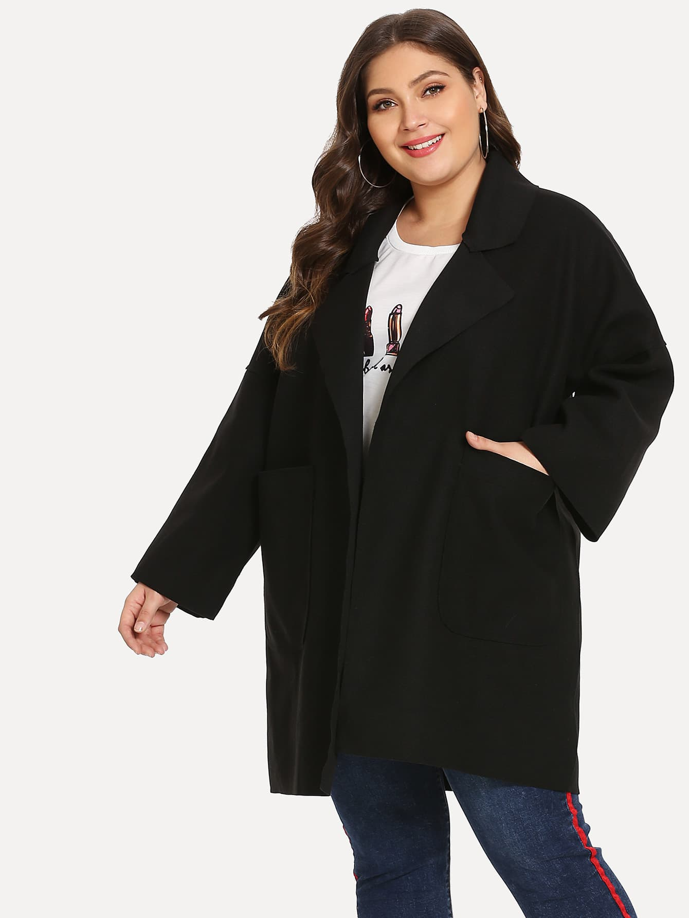 Фото - Плюс размеры одноцветное пальто с карманом от SheIn цвет чёрные