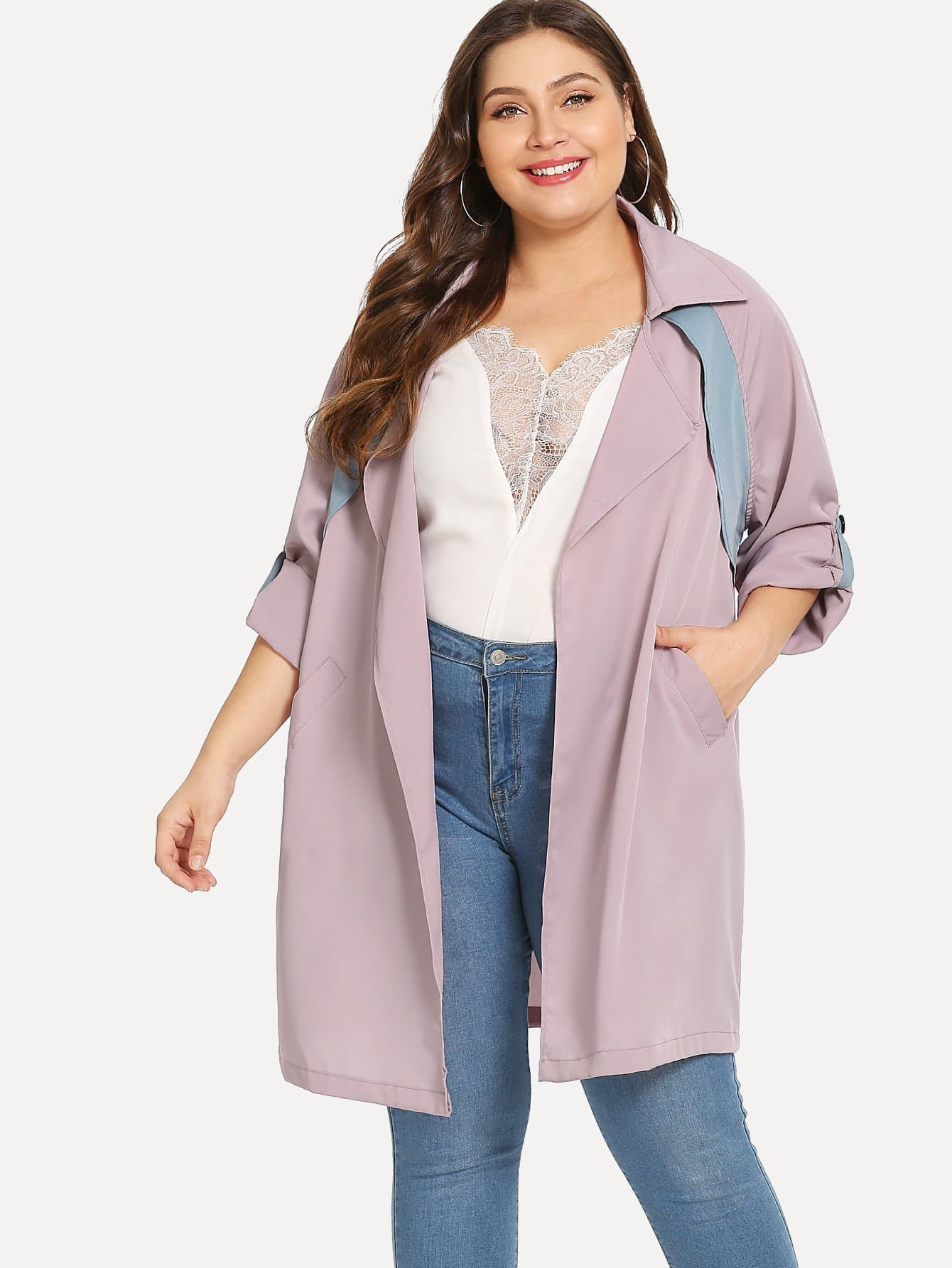 Купить Плюс размеры кроить и шить пальто, Carol, SheIn