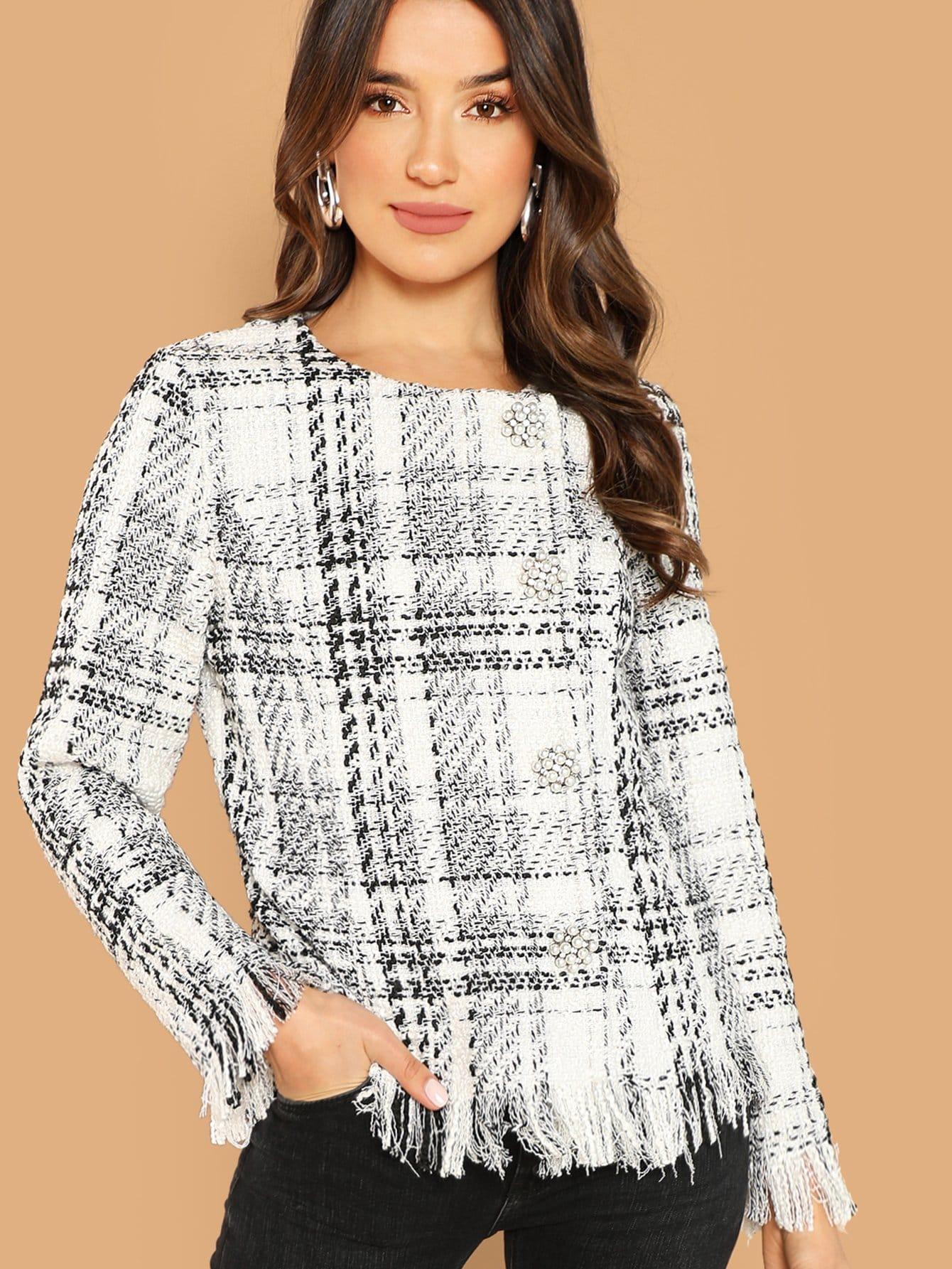 Купить Пальто из твида с небработанным краем и украшением пуговицы, null, SheIn