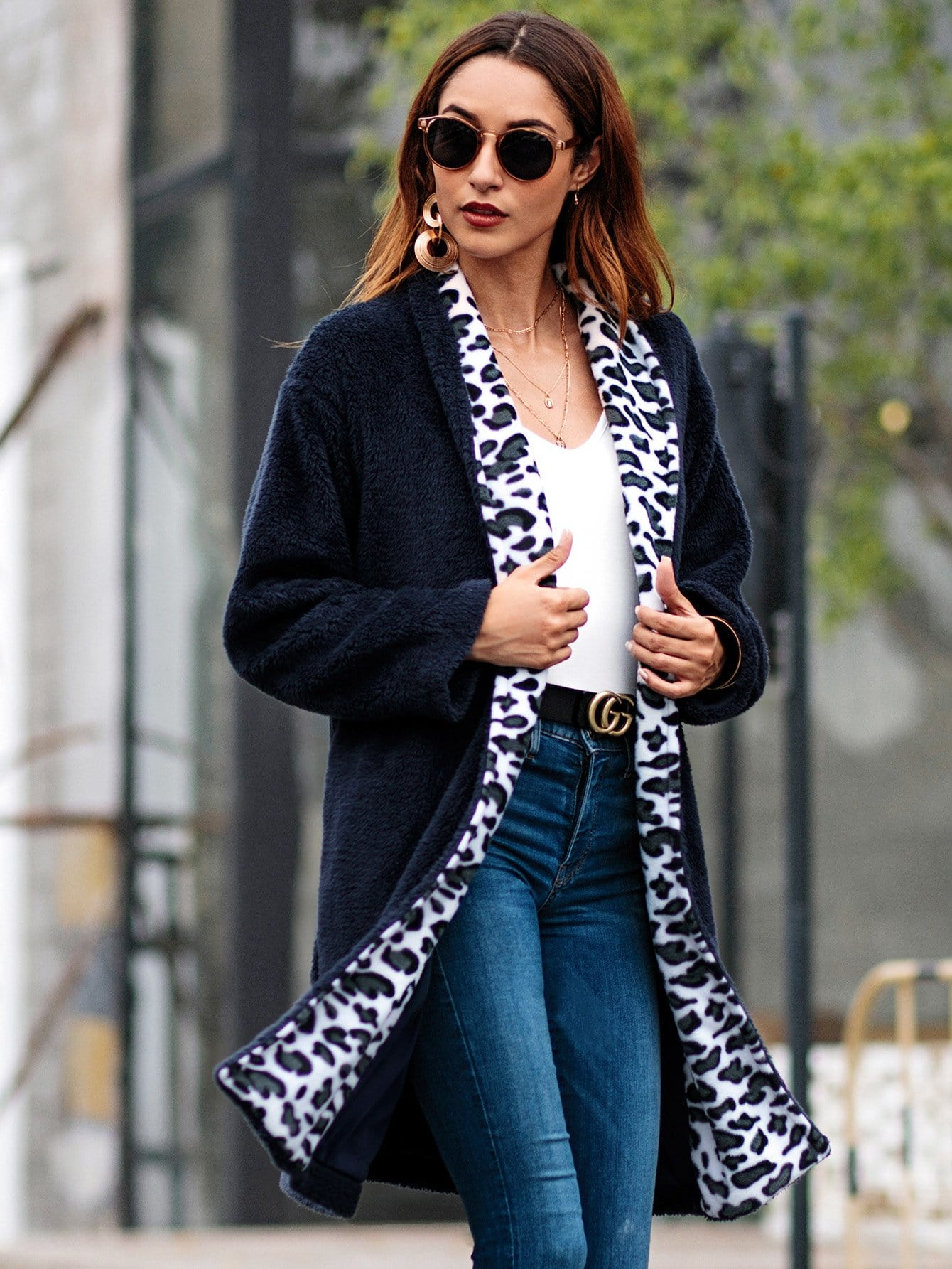 Купить Леопардое тедди пальто с карманом, null, SheIn