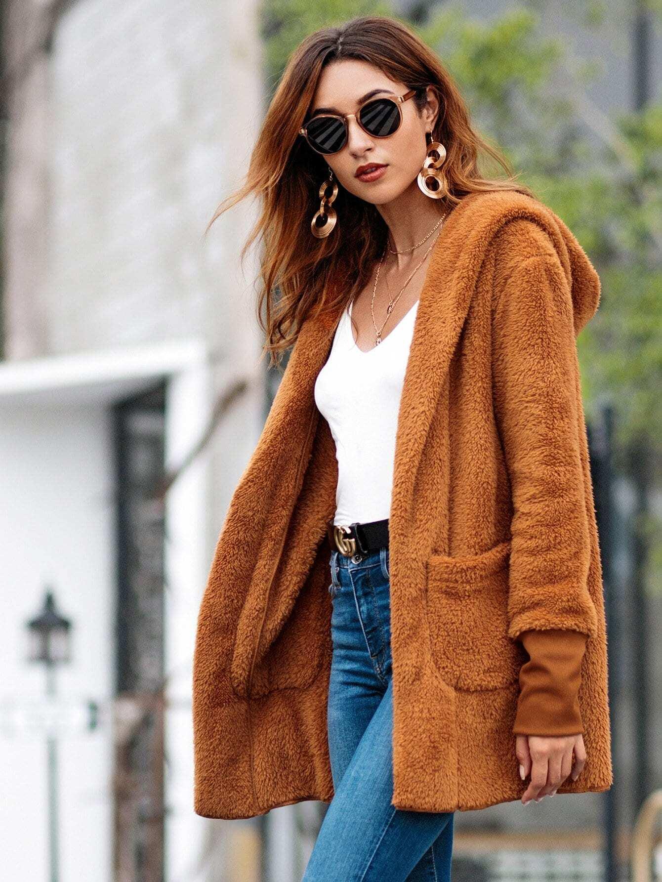 Купить Тедди пальто с капюшоном с карманом, null, SheIn