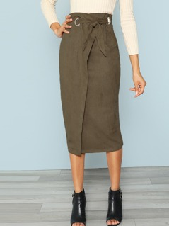 Zip Back Tie Waist Wrap Skirt