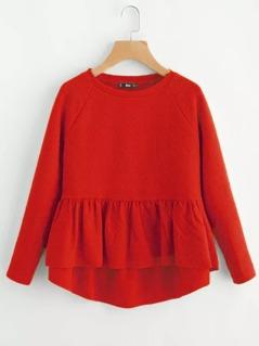 Raglan Sleeve Dip Hem Textured Smock Sweatshirt