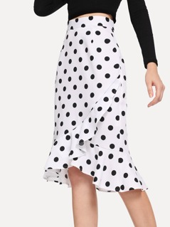 Polka Dot Print Ruffle Trim Skirt