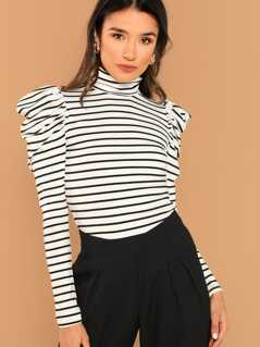 Leg-of-mutton Sleeve Striped Tee