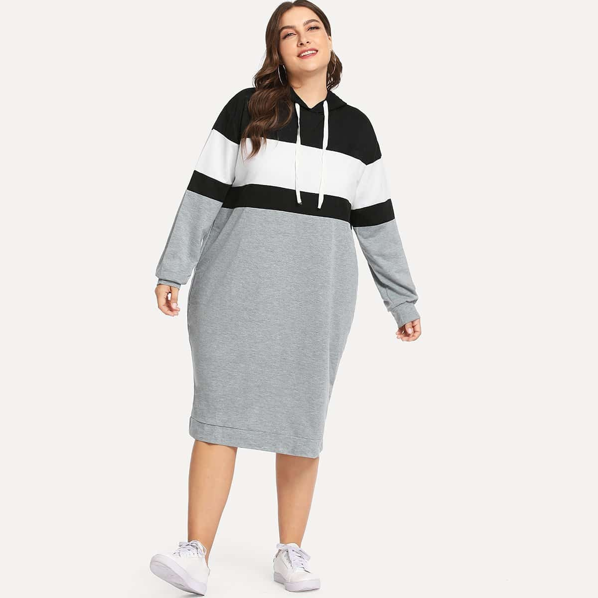 Plus Colorblock Sweaterjurk met Kap