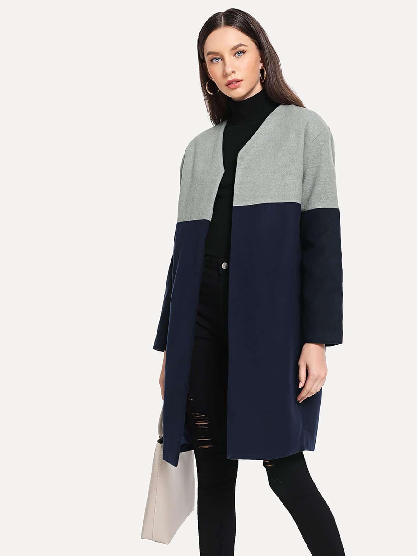 Купить Открытое тивдовое пальто, Kate B, SheIn
