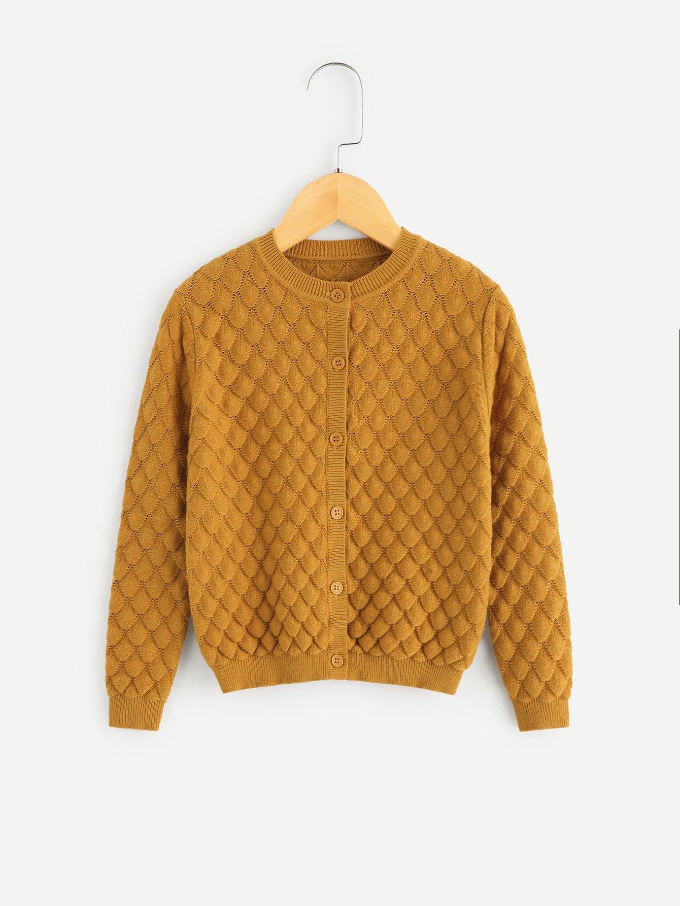 Купить Одноцветное пальто-свитер для маленьких девочек, null, SheIn