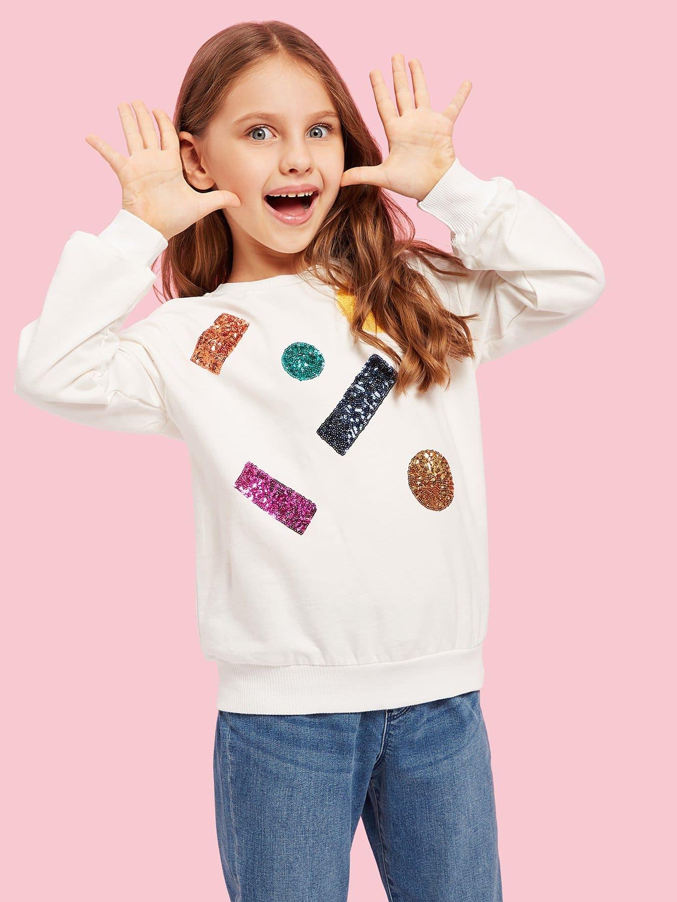 Купить Свитшот с контрастными пайетки для маленьких девочек, Dariab, SheIn
