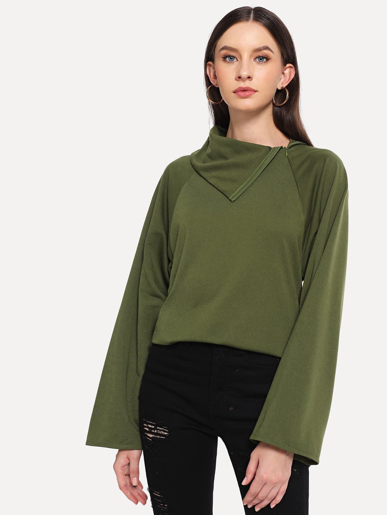 Купить Однотонная футболка с рукав-регланами, Kate B, SheIn