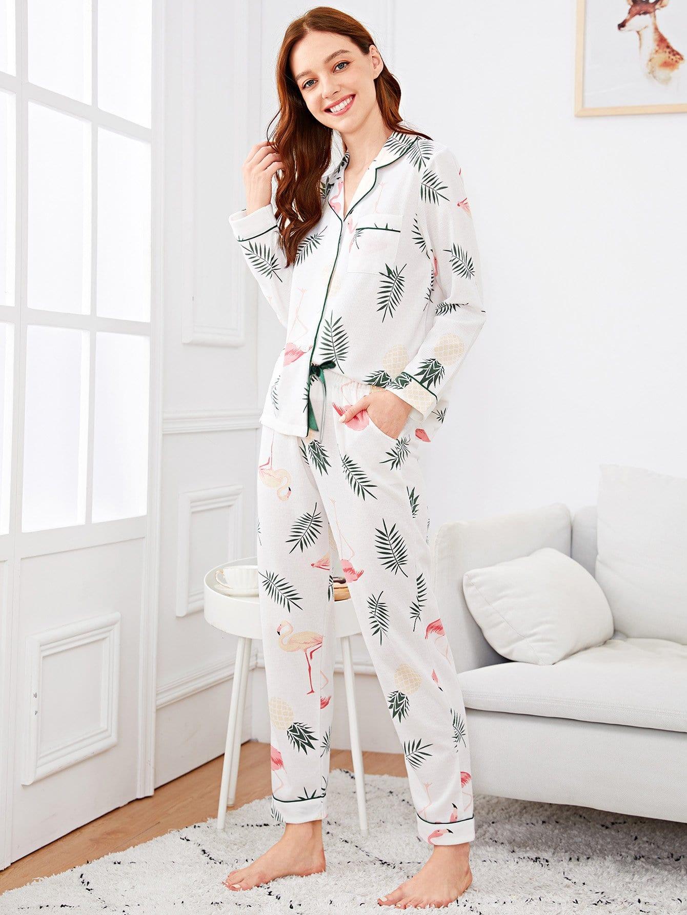 Комплект пижамы с принтом фламинго и тропических листьев