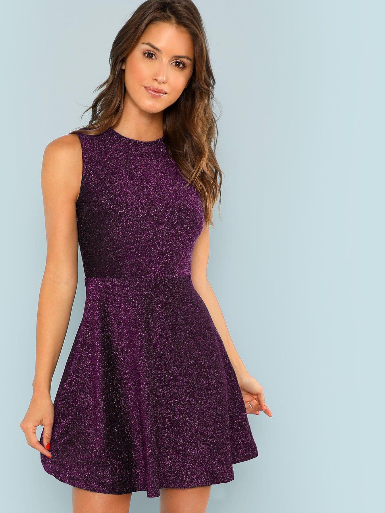 Фото - Блестящее платье-клёш без рукавов от SheIn цвет фиолетовые