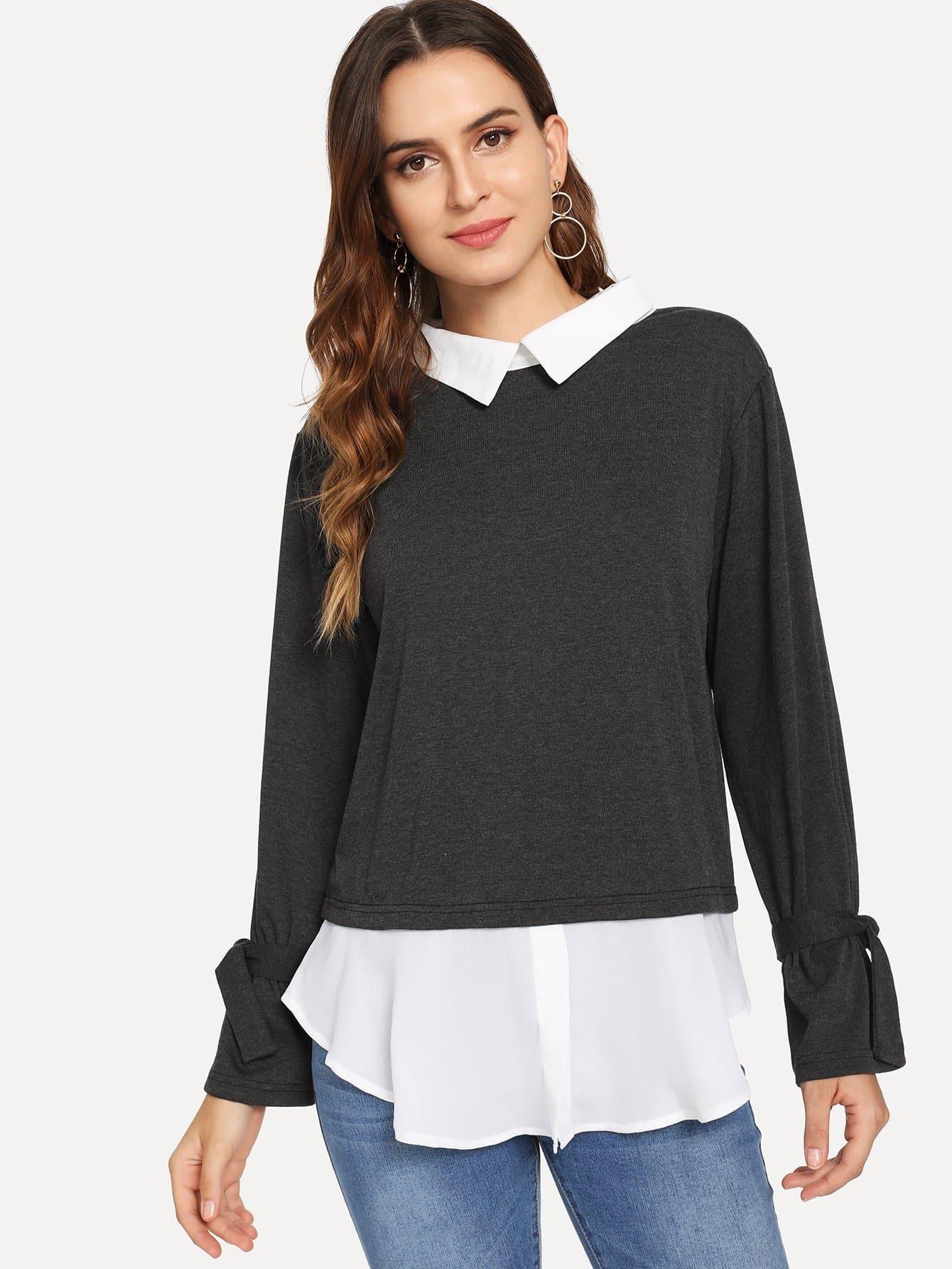 Туника пуловер с узлом, Jana, SheIn  - купить со скидкой