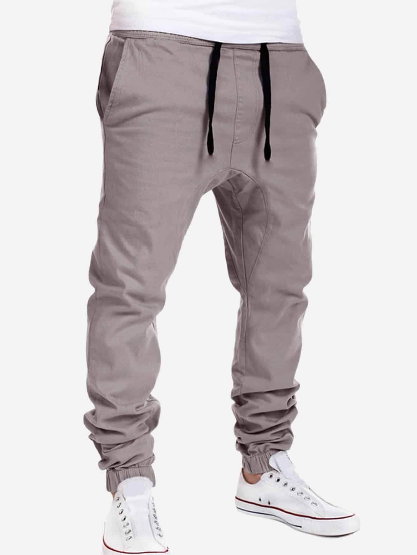 Купить Мужские простые брюки с кулиской, null, SheIn