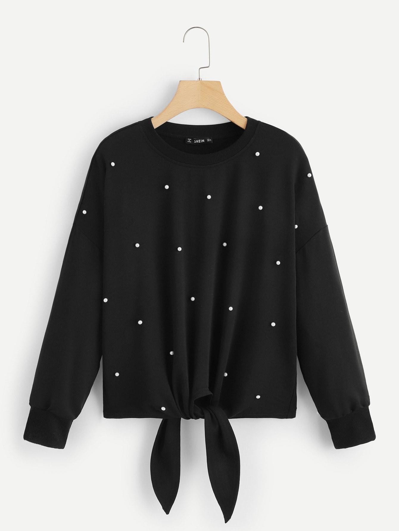 Купить Пуловер с жемчугами с узлом, null, SheIn