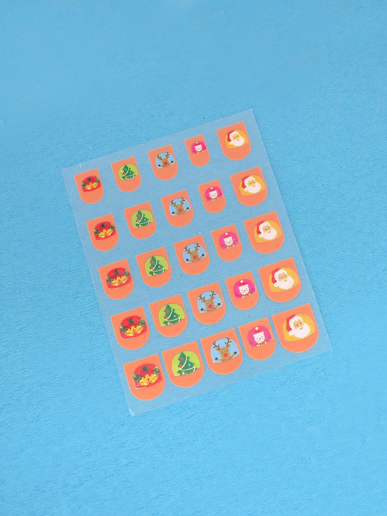 Купить Рождественские наклейки для ногтей 1 лист для девочек, null, SheIn