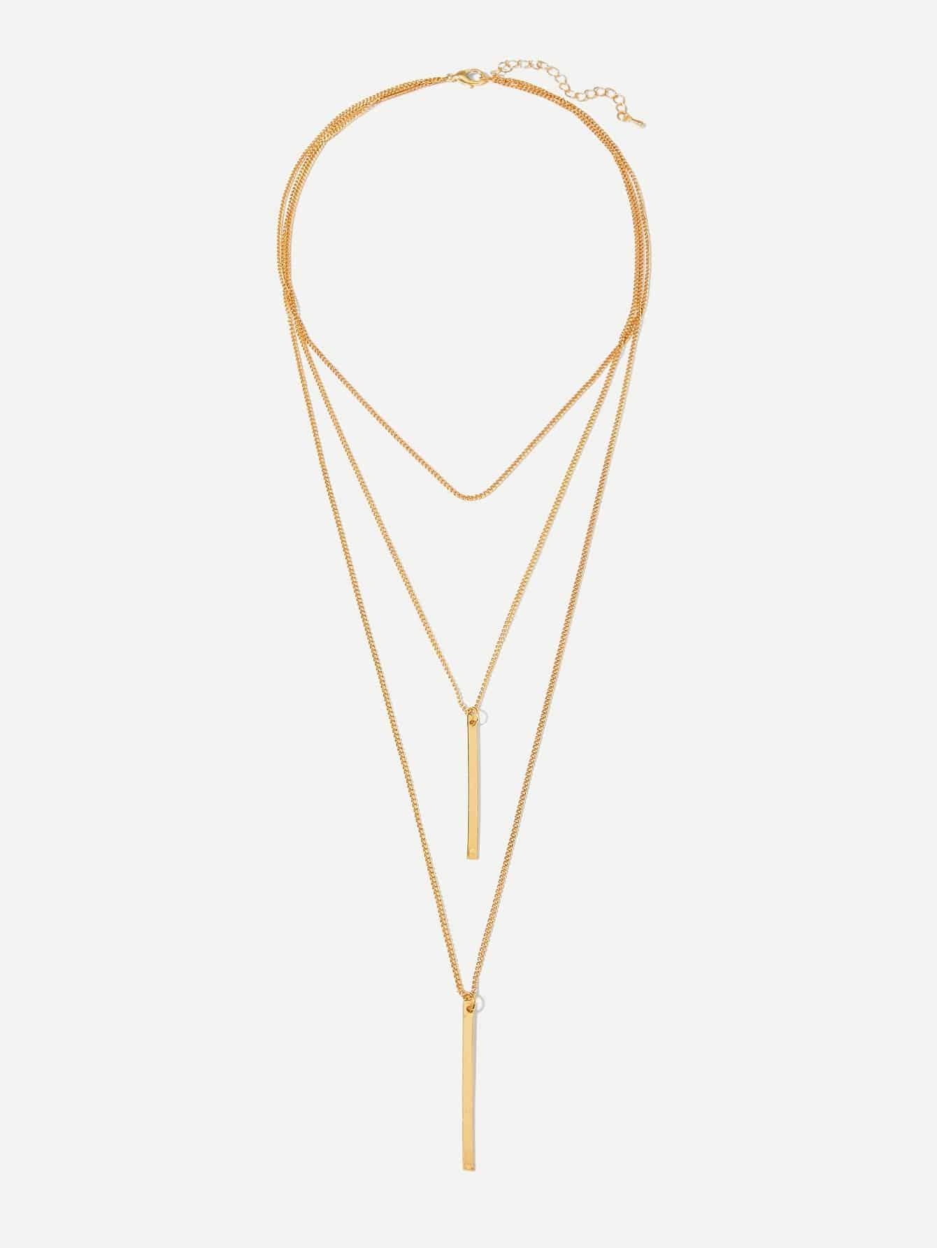 Фото - Слойное цепное ожерелье с подвеской бара от SheIn цвет золотые