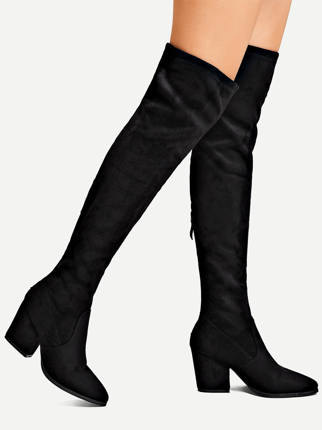 Фото - Утеплённые сапоги на высоких каблуках с застёжкой молния назад от SheIn черного цвета