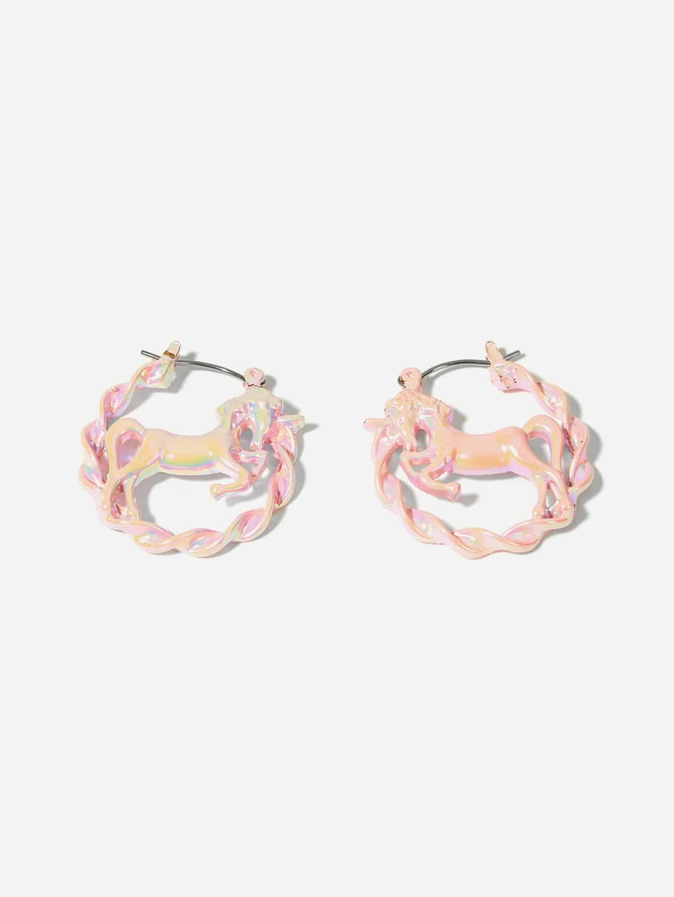 Фото - Животных открытый обруч серьги 1 пара от SheIn розового цвета