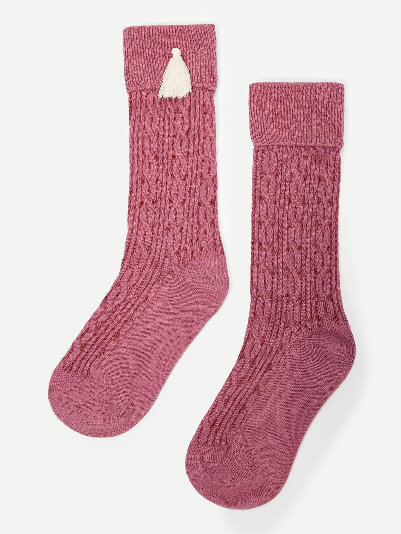 Купить Для девочек носки с бахромой 1 пара, null, SheIn