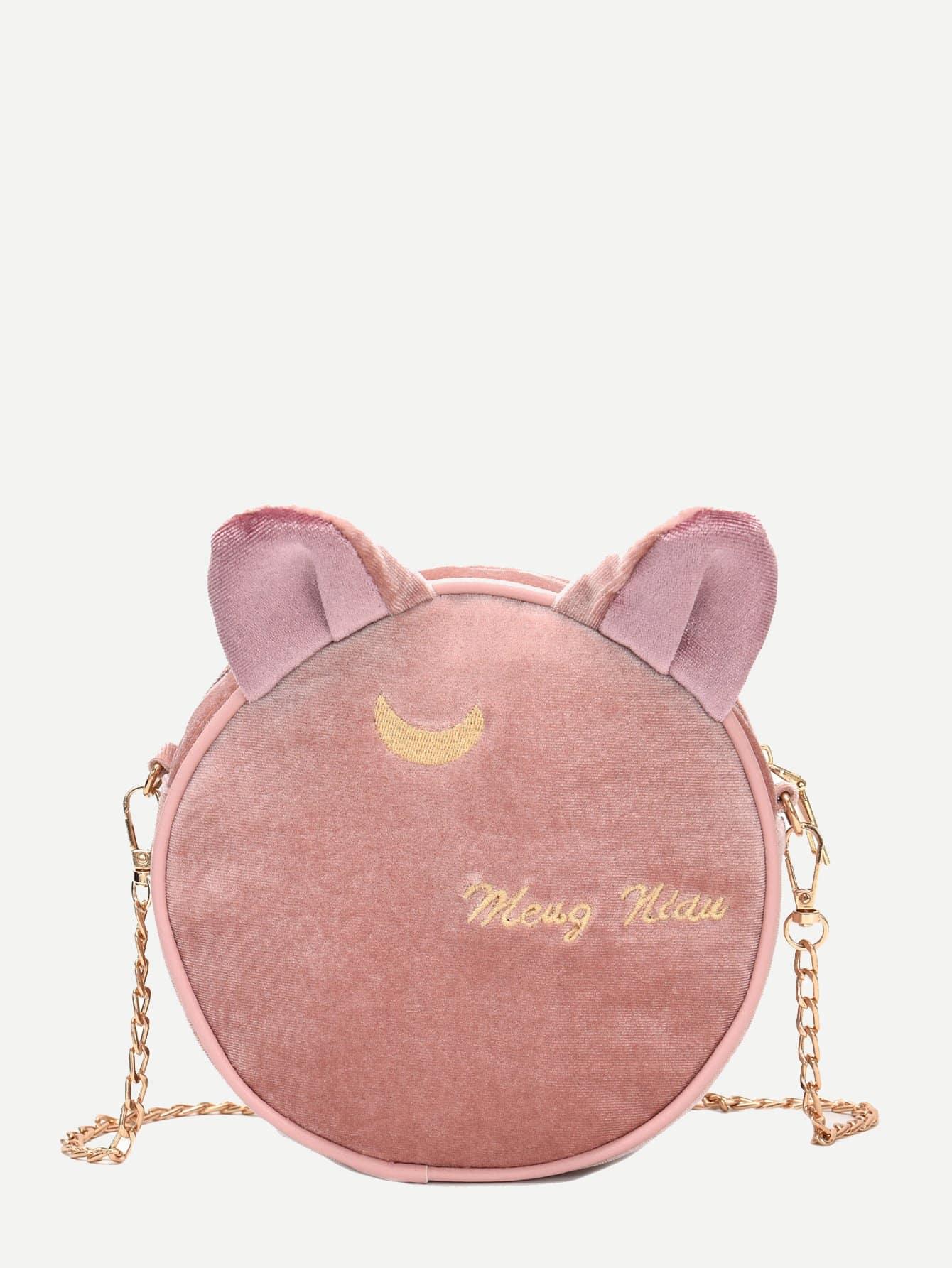 Купить Цепная сумка с вышивкой и украшением кота для детей, null, SheIn