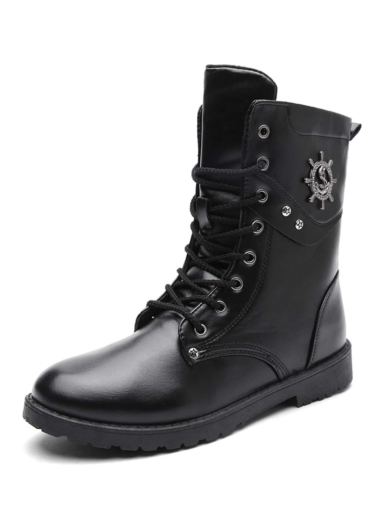 Купить Мужские сапоги с шнурками и высоким верхом, null, SheIn
