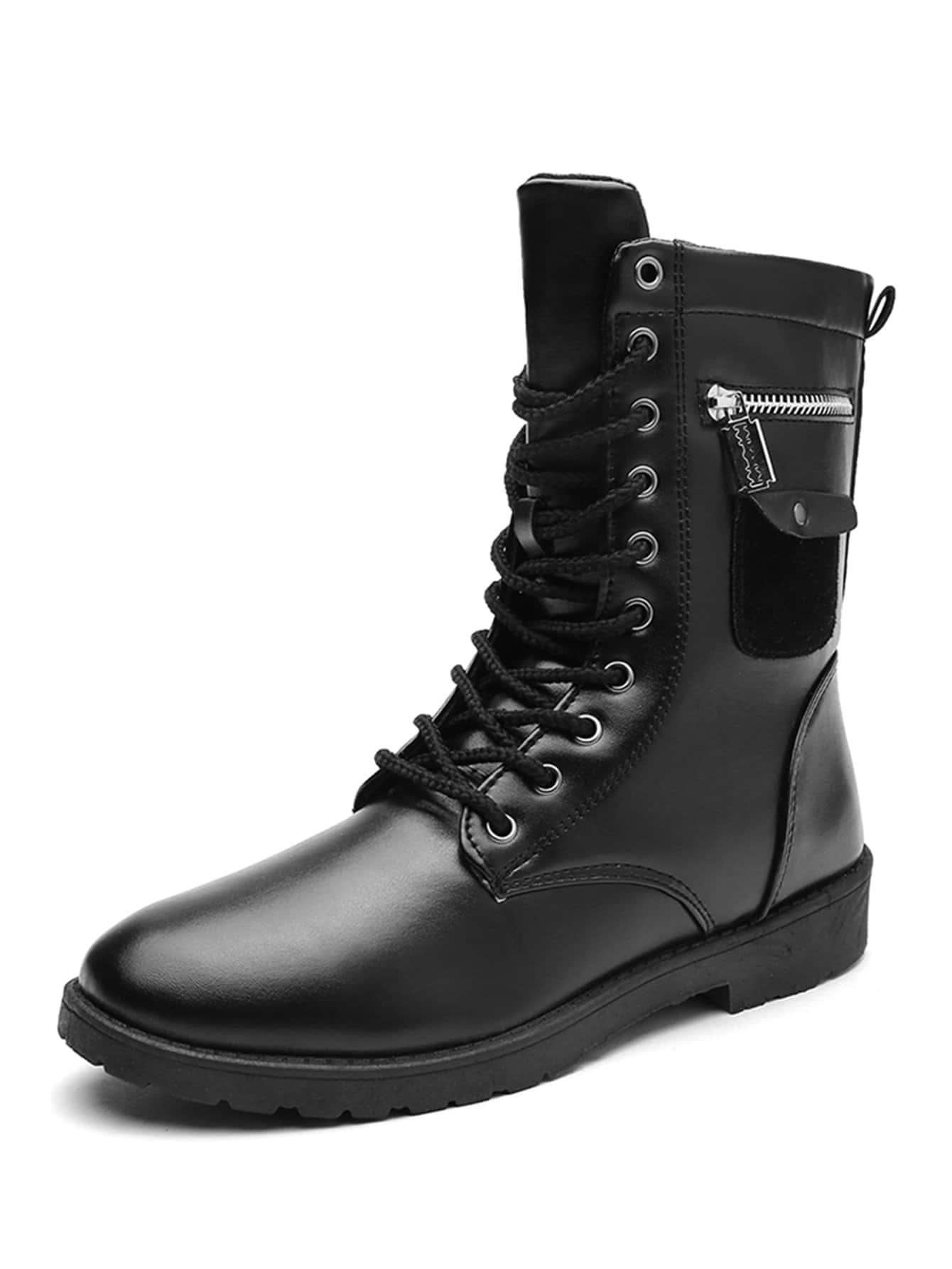 Купить Мужские сапоги с шнурками и застёжкой молния, null, SheIn