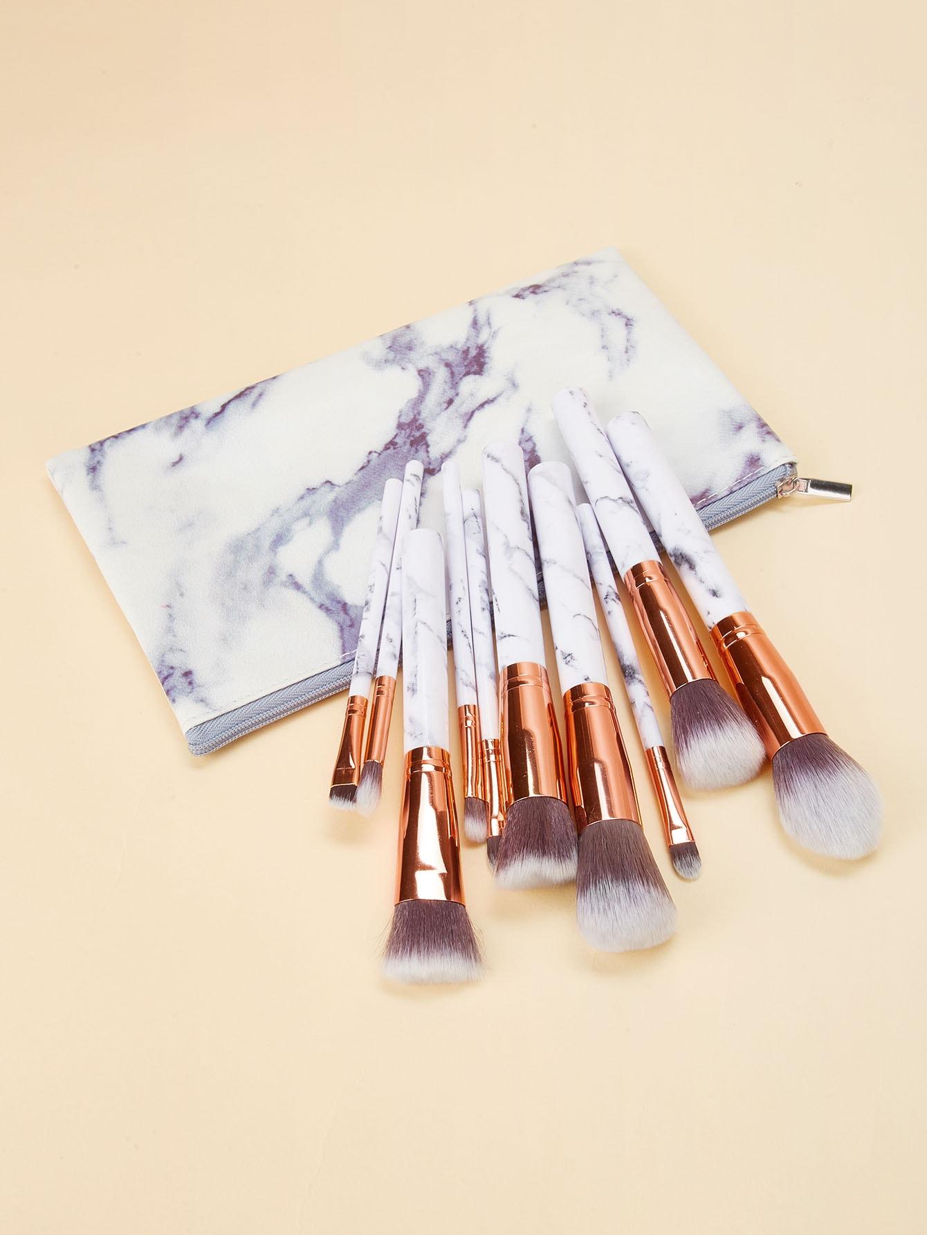 Купить Мраморная кисть для макияжа с ручкой 10 шт, null, SheIn