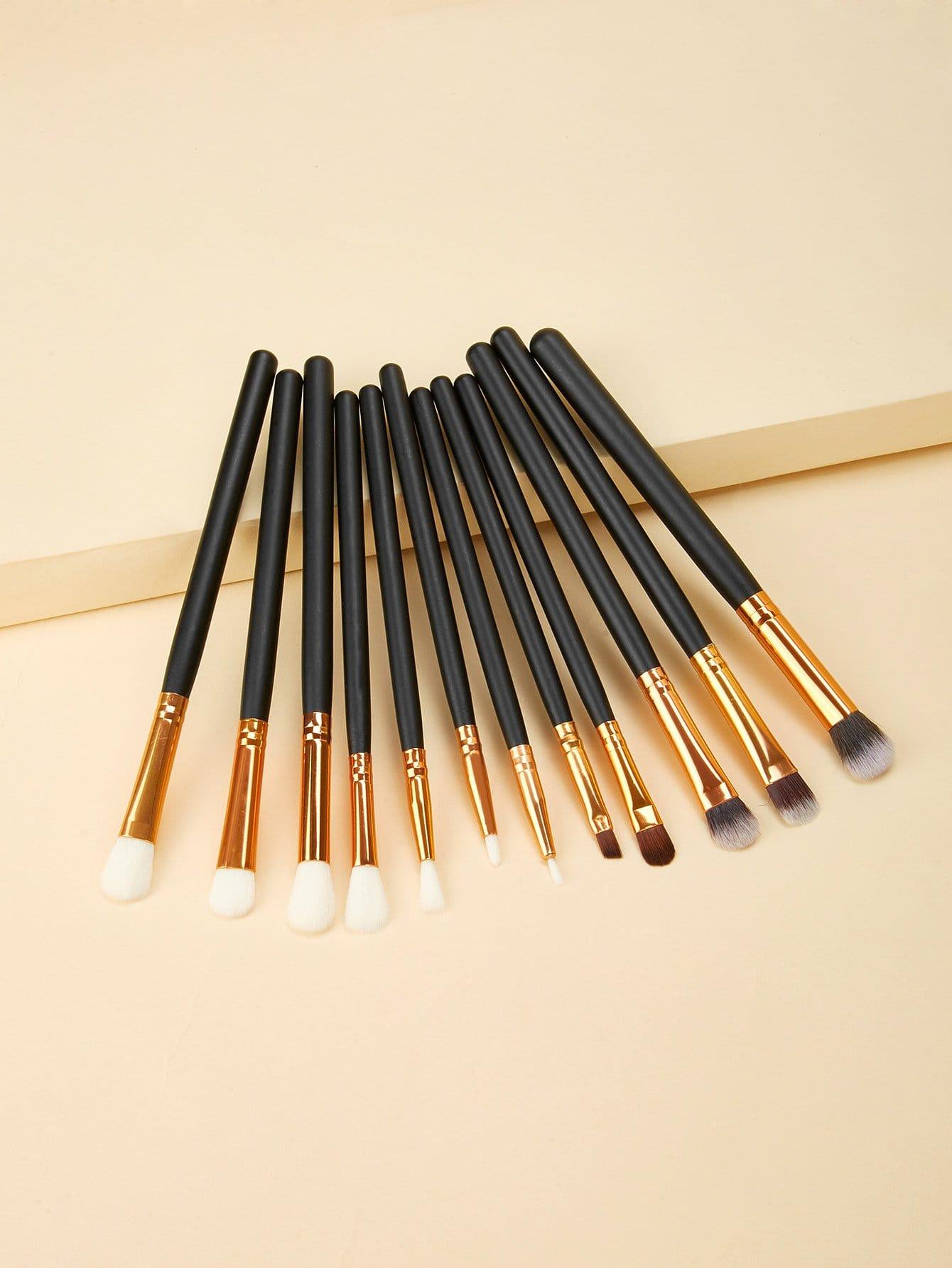 Купить Кисть для макияжа с корпусом и двухцветной ручкой 8шт, null, SheIn