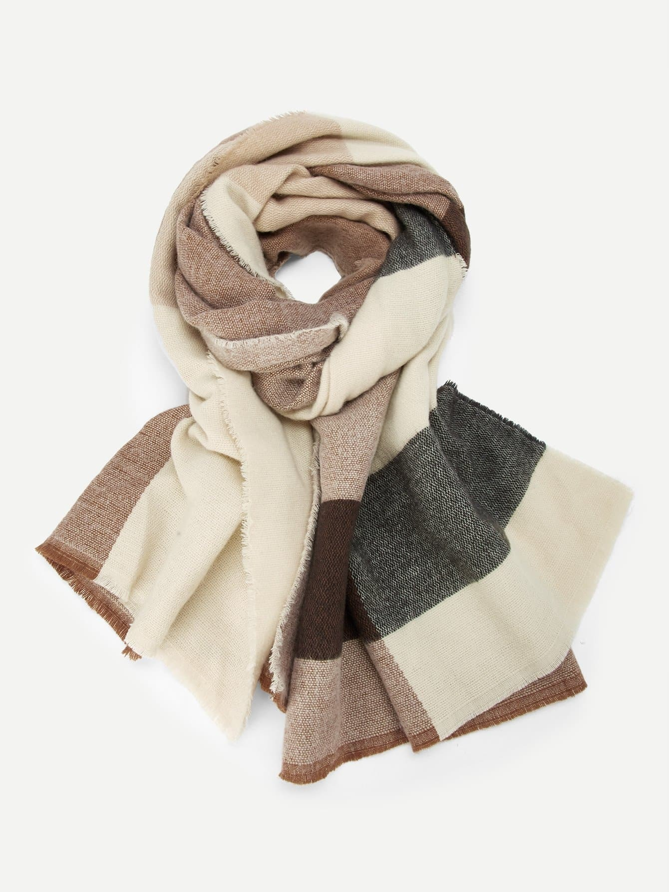 Купить Контрастный шарф с бахромой, null, SheIn