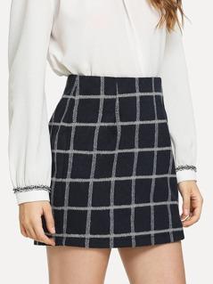 Split Hem Grid Skirt