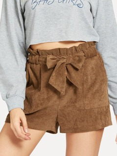 Belted Frill Waist Corduroy Shorts