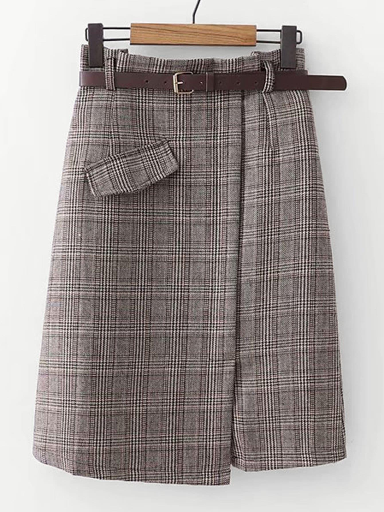 Фото - Юбку в клетку с карманами и поясом от SheIn серого цвета