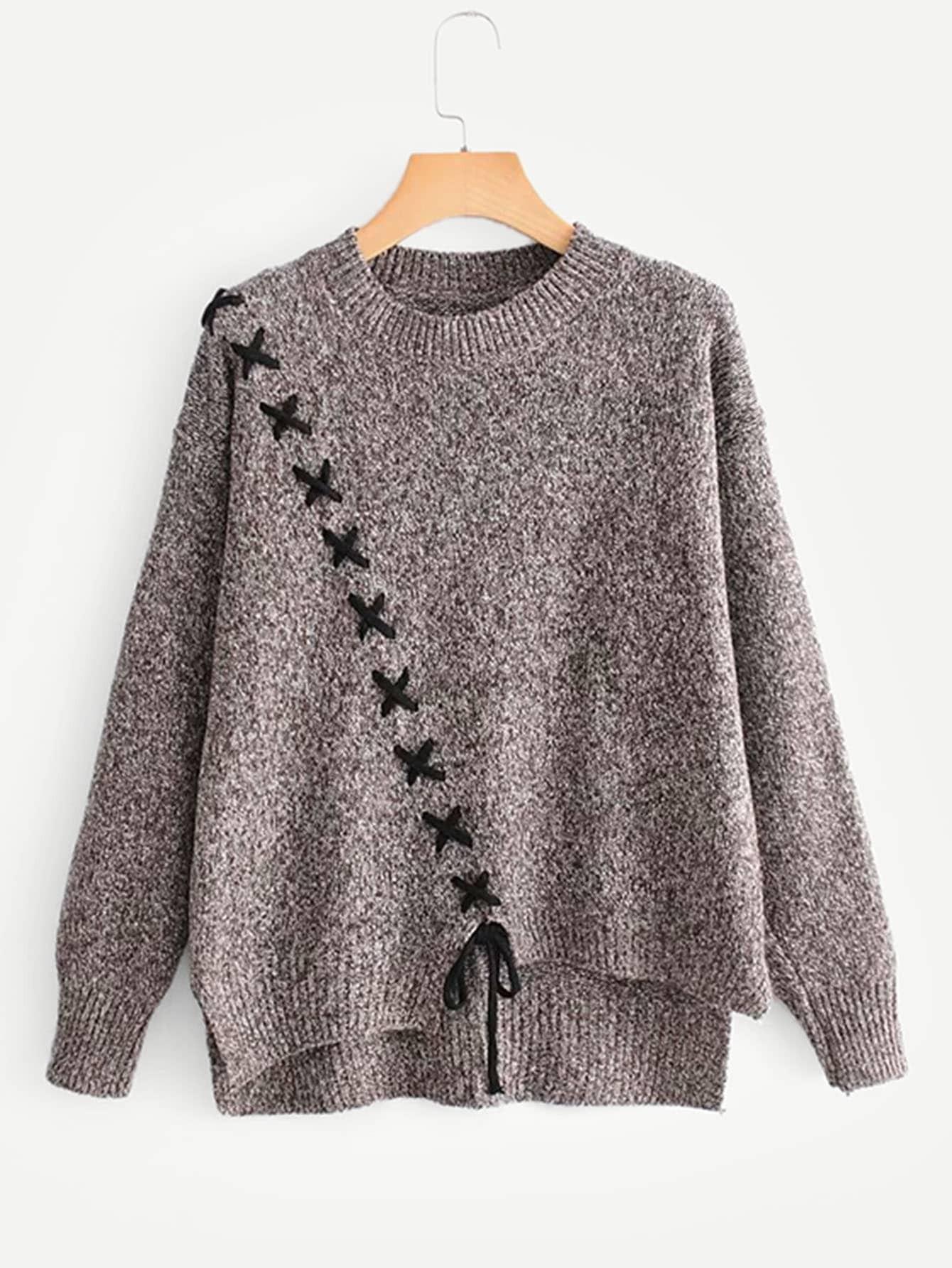 Фото - Асимметричный свитер с шнурками от SheIn серого цвета