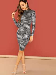 High Neck Brush Stroke Print Bodycon Dress