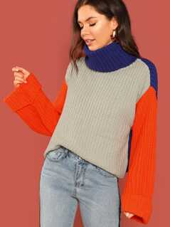 Colorblock Turtleneck Knitted Sweater