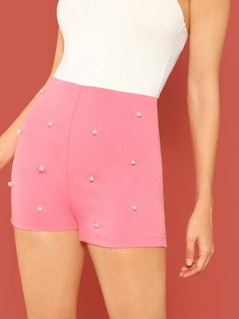 High Waisted Pearl Detail Back Zip Shorts