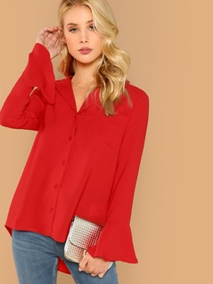 Button Front Long Sleeve Flare Cuff Dip Hem Blouse