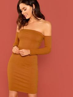 Off Shoulder Lace Up Back Rib Knit Mini Dress