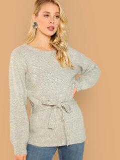 Round Neck Waist Tie Soft Knit Pullover Sweater