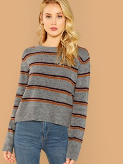 Round Neck Striped Knit Pullover Sweater