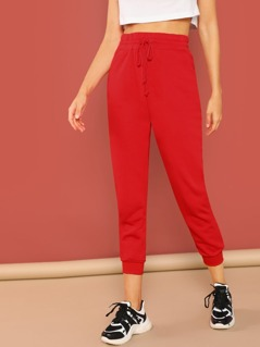 Elastic Drawstring Waist Skinny Sweatpants