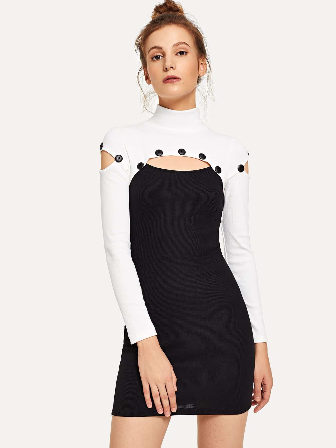Купить Контрастное платье с пуговицами, Galina, SheIn