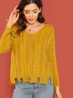 Chunky Knit Shredded Hem Pullover Sweater