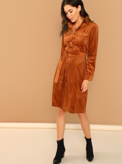 Button Front Waist Tie Long Sleeve Shirt Dress