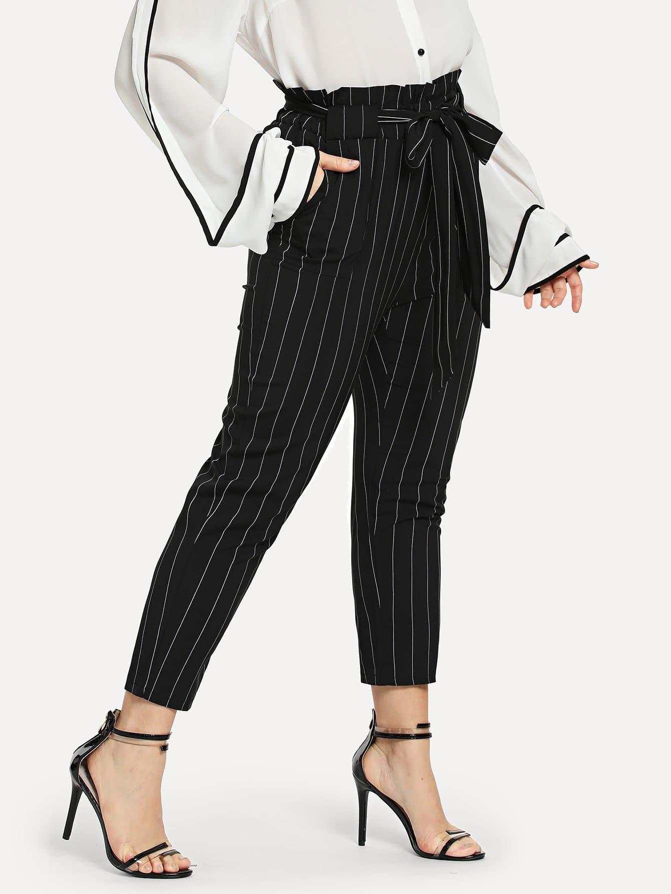 Купить Размера плюс полосатые брюки с поясом, Isabela, SheIn
