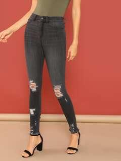 High Rise Distressed Raw Hem Skinny Jeans