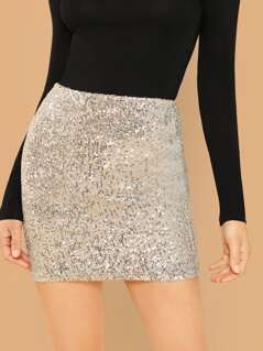 Stretch Sequined Knit Mini Skirt