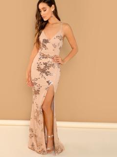 Sequined Floral Side Slit Cami V-Neck Top Gown