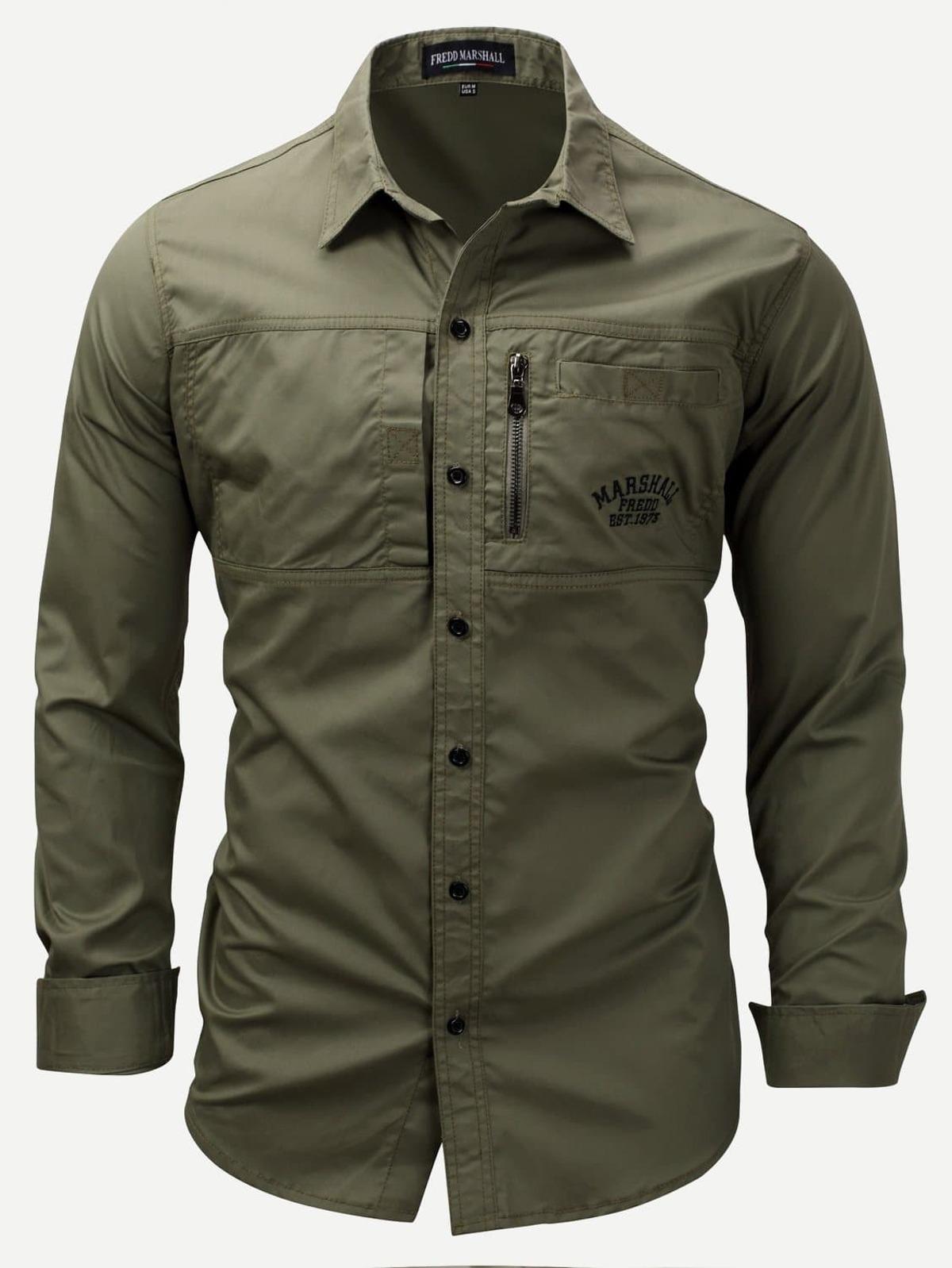 男人 刺鏽 裝飾 曲線 下擺 單色 襯衫